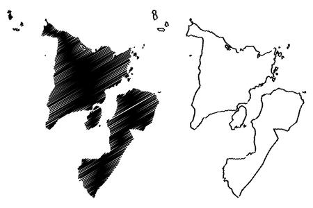 Western Visayas Region (Regions and provinces of the Philippines, Republic of the Philippines) map vector illustration, scribble sketch Region VI map Vektoros illusztráció