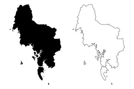 Krabi Province (Kingdom of Thailand, Siam, Provinces of Thailand) map vector illustration, scribble sketch Krabi map Иллюстрация