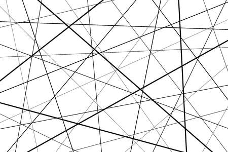 Random chaotic lines abstract geometric pattern, Black and white geometric pattern Vector Illustration