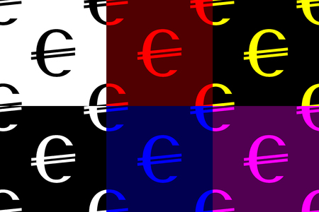 Currency icon - Euro (EUR) seamless pattern, Euro (black, white, red, blue, yellow, purple) background set,