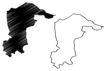 Katsina State (Subdivisions of Nigeria, Federated state of Nigeria) map vector illustration, scribble sketch Katsina map Ilustração