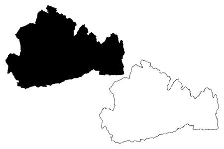 Surrey (United Kingdom, England, Non-metropolitan county, shire county) map vector illustration, scribble sketch Surrey map Illustration