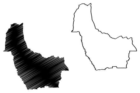 Kwango Province (Democratic Republic of the Congo, DR Congo, DRC, Congo-Kinshasa) map vector illustration, scribble sketch Kwango map
