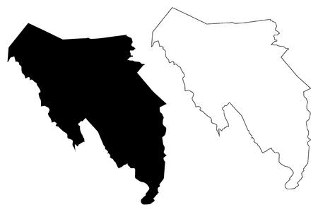 Blaenau Gwent (United Kingdom, Wales, Cymru, Principal areas of Wales) map vector illustration, scribble sketch Blaenau Gwent County Borough map