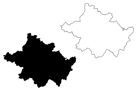 County Tyrone (United Kingdom, Northern Ireland, Counties of Northern Ireland) map vector illustration, scribble sketch Tyrone map Illustration