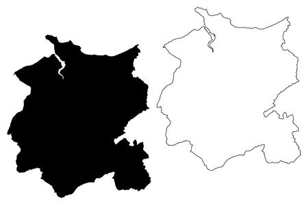 Conwy County Borough (United Kingdom, Wales, Cymru, Principal areas of Wales) map vector illustration, scribble sketch Conwy map Illustration