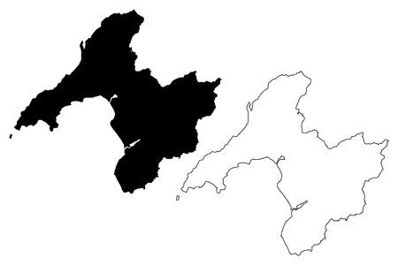 Gwynedd (United Kingdom, Wales, Cymru, Principal areas of Wales) map vector illustration, scribble sketch Gwynedd map