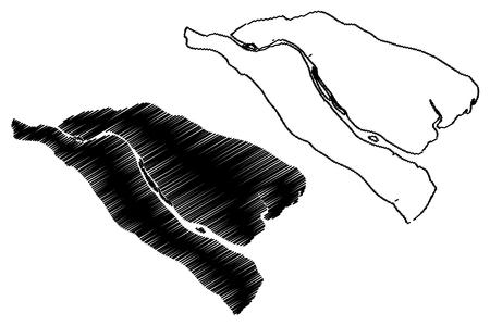 Ben Tre Province (Socialist Republic of Vietnam, Subdivisions of Vietnam) map vector illustration, scribble sketch Tinh Ben Tre map