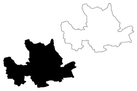 East Dunbartonshire (United Kingdom, Scotland, Local government in Scotland) map vector illustration, scribble sketch East Dunbartonshire map Illustration
