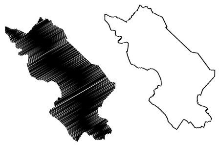 La province de Dong Thap (République socialiste du Vietnam, subdivisions du Vietnam) map vector illustration, scribble sketch carte Tinh Dong Thap