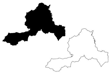 Wrexham (United Kingdom, Wales, Cymru, Principal areas of Wales) map vector illustration, scribble sketch Wrexham County Borough map Illustration