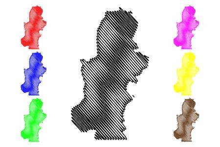 Kasai Province (Democratic Republic of the Congo, DR Congo, DRC, Congo-Kinshasa) map vector illustration, scribble sketch Kasai map Illustration