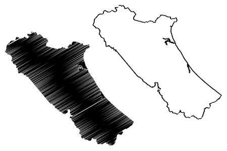 Quang Binh Province (Socialist Republic of Vietnam, Subdivisions of Vietnam) map vector illustration, scribble sketch Tinh Quang Binh map