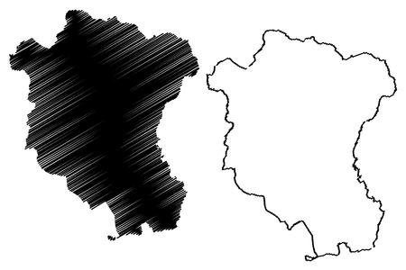 Tay Ninh Province (Socialist Republic of Vietnam, Subdivisions of Vietnam) map vector illustration, scribble sketch Tinh Tay Ninh map Иллюстрация