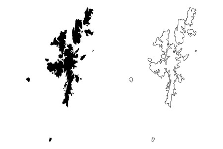 Shetland Islands (United Kingdom, Scotland, Local government in Scotland) map vector illustration, scribble sketch Zetland (Northern Isles) map