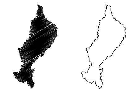 Lampang Province (Kingdom of Thailand, Siam, Provinces of Thailand) map vector illustration, scribble sketch Lampang map Иллюстрация