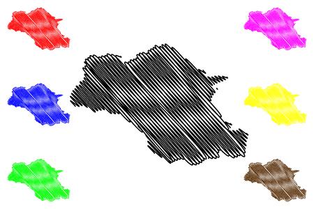 감벨라 지역(에티오피아 연방 민주 공화국, 아프리카 뿔, 에티오피아 지역 및 전세 도시) 지도 벡터 일러스트, 낙서 스케치 감벨라 인민 지역 지도 벡터 (일러스트)