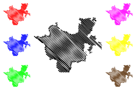 남부 국가, 국적 및 인민 지역(에티오피아 연방 민주 공화국, 아프리카 뿔, 에티오피아 지역 및 전세 도시) 지도 벡터 일러스트, 낙서 스케치 SNNPR 지도