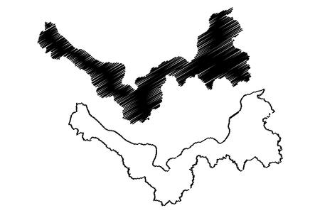 Nong Khai Province (Kingdom of Thailand, Siam, Provinces of Thailand) map vector illustration, scribble sketch Nong Khai map Иллюстрация