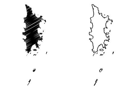 Phuket Province (Kingdom of Thailand, Siam, Provinces of Thailand) map vector illustration, scribble sketch Phuket island map