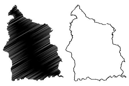 Sisaket Province (Kingdom of Thailand, Siam, Provinces of Thailand) map vector illustration, scribble sketch Sisaket map Иллюстрация