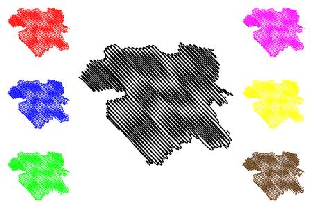 Kurdistan Province (Provinces of Iran, Islamic Republic of Iran, Persia) map vector illustration, scribble sketch Kurdistan map Ilustracje wektorowe