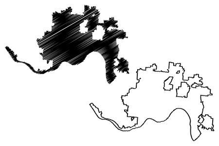 Cincinnati City (United States cities, United States of America, usa city) map vector illustration, scribble sketch City of Cincinnati map Ilustração