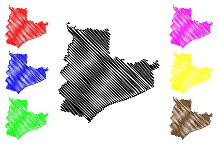 Bac Lieu Province (Socialist Republic of Vietnam, Subdivisions of Vietnam) map vector illustration, scribble sketch Tinh Bac Lieu map Ilustração