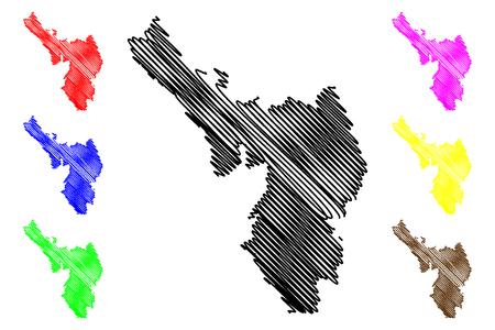 Dien Bien Province (Socialist Republic of Vietnam, Subdivisions of Vietnam) map vector illustration, scribble sketch Tinh Dien Bien map Ilustração