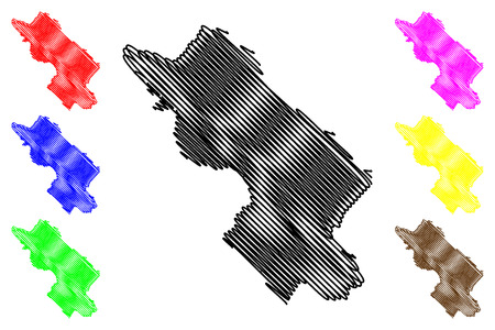 La province de Dong Thap (République socialiste du Vietnam, subdivisions du Vietnam) map vector illustration, scribble sketch carte Tinh Dong Thap Vecteurs