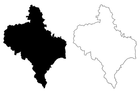 Ivano-Frankivsk Oblast (Administrative divisions of Ukraine, Oblasts of Ukraine) map vector illustration, scribble sketch Prykarpattia (Stanislavshchyna or Stanislavivshchyna) map