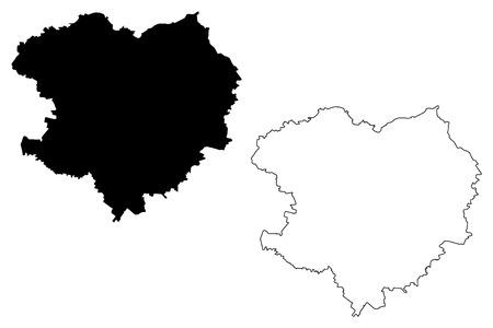 Kharkiv Oblast (Administrative divisions of Ukraine, Oblasts of Ukraine) map vector illustration, scribble sketch Kharkivshchyna map