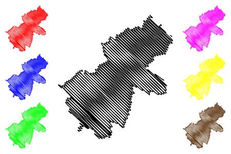 Ha Giang Province (Socialist Republic of Vietnam, Subdivisions of Vietnam) map vector illustration, scribble sketch Tinh Ha Giang map Ilustração