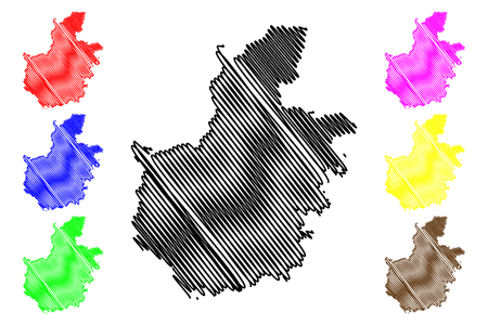 Hai Duong Province (Socialist Republic of Vietnam, Subdivisions of Vietnam) map vector illustration, scribble sketch Tinh Hai Duong map