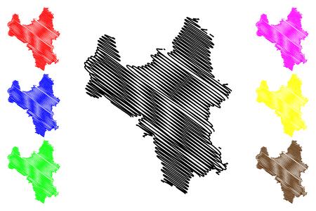 Hanoi Province (Socialist Republic of Vietnam, Subdivisions of Vietnam, Municipality) map vector illustration, scribble sketch Ha Noi map Ilustração