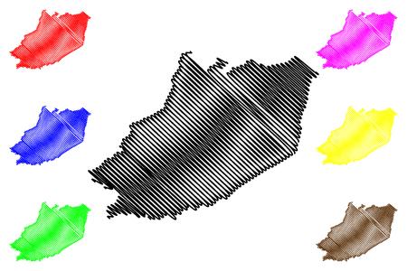 Hau Giang Province (Socialist Republic of Vietnam, Subdivisions of Vietnam) map vector illustration, scribble sketch Tinh Hau Giang map