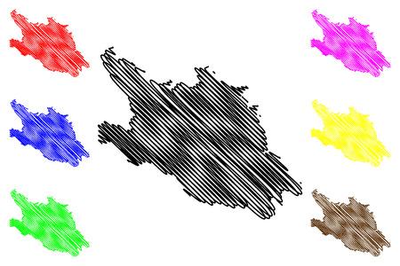 Hoa Binh Province (Socialist Republic of Vietnam, Subdivisions of Vietnam) map vector illustration, scribble sketch Tinh Hoa Binh map Ilustração