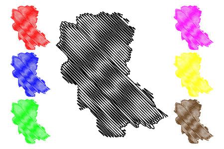 Hung Yen Province (Socialist Republic of Vietnam, Subdivisions of Vietnam) map vector illustration, scribble sketch Tinh Hung Yen map