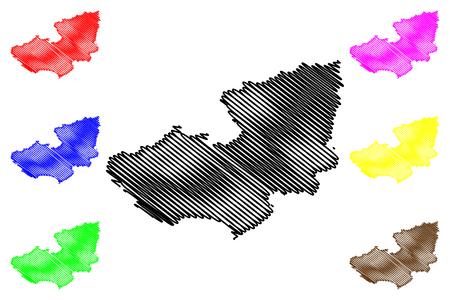 Lam Dong Province (Socialist Republic of Vietnam, Subdivisions of Vietnam) map vector illustration, scribble sketch Tinh Lam Dong map Ilustração