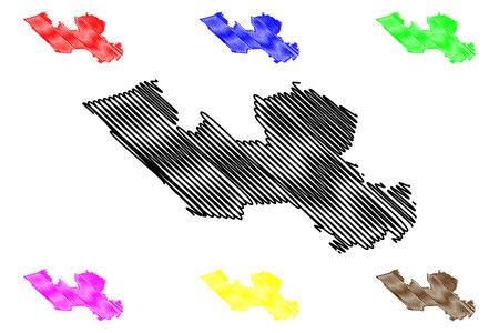 Long An Province (Socialist Republic of Vietnam, Subdivisions of Vietnam) map vector illustration, scribble sketch Tinh Long An map Ilustração