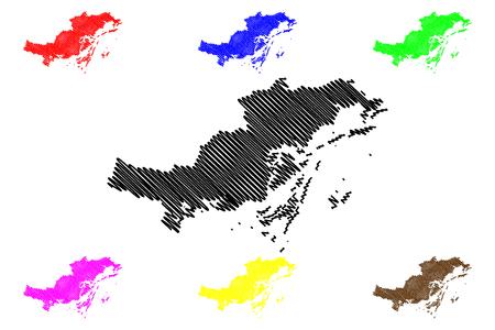 Quang Ninh Province (Socialist Republic of Vietnam, Subdivisions of Vietnam) map vector illustration, scribble sketch Tinh Quang Ninh map Иллюстрация
