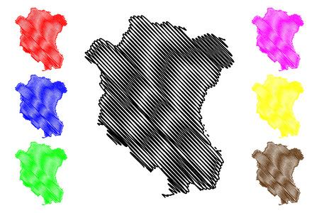 Tay Ninh Province (Socialist Republic of Vietnam, Subdivisions of Vietnam) map vector illustration, scribble sketch Tinh Tay Ninh map Ilustração