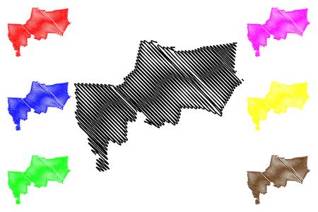 Bangkok Province (Kingdom of Thailand, Siam, Provinces of Thailand) map vector illustration, scribble sketch Krung Thep Maha Nakhon map Ilustração