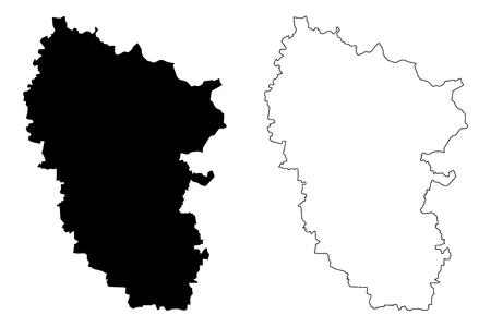 Luhansk Oblast (Administrative divisions of Ukraine, Oblasts of Ukraine) map vector illustration, scribble sketch Luhanshchyna map