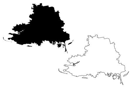 Kherson Oblast (Administrative divisions of Ukraine, Oblasts of Ukraine) map vector illustration, scribble sketch Khersonshchyna map Ilustração