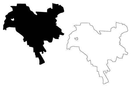 Kiev city (Administrative divisions of Ukraine, City with special status) map vector illustration, scribble sketch Kyiv map Ilustração