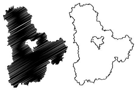 Kiev Oblast (Administrative divisions of Ukraine, Oblasts of Ukraine) map vector illustration, scribble sketch Kyiv Oblast (Kyivshchyna) map