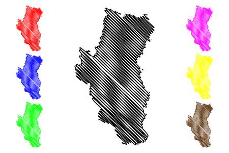 Tuyen Quang Province (Socialist Republic of Vietnam, Subdivisions of Vietnam) map vector illustration, scribble sketch Tinh Tuyen Quang map