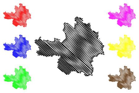 Yen Bai Province (Socialist Republic of Vietnam, Subdivisions of Vietnam) map vector illustration, scribble sketch Tinh Yen Bai map