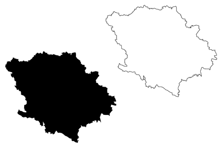 Poltava Oblast (Administrative divisions of Ukraine, Oblasts of Ukraine) map vector illustration, scribble sketch Poltavshchyna map Stock Illustratie